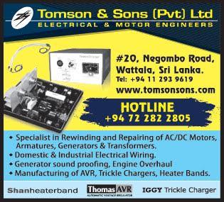 Electric Motors - Dealers & Repairing - Ad 01 - Tomson Sons